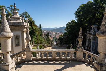 Many sets of stairs in the baroque staircase to the Santuario de Nossa Senhora dos Remedios church
