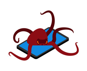 Octopus on phone. Animal in smartphone. vector illustration