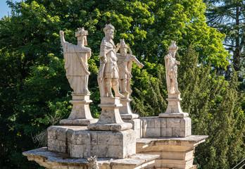 Statues adorn the baroque staircase to the Santuario de Nossa Senhora dos Remedios church