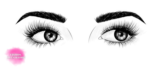 Hand-drawn black and white image of the eyes, looking to the side, with eyebrows and long eyelashes. Fashion illustration. Vector EPS 10 .