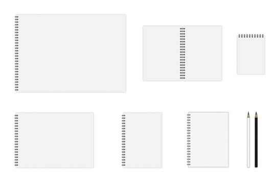 Vector set of notebook mockup (formats: A3, A4, A5, A6), hardcover notebook, pencils. EPS 10