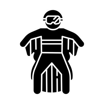 Wingsuit flying glyph icon. Skydiver jumping with wing suit. Skydiving. Air extreme sport. Flight in sky, adrenaline recreation. Parachutist flying. Silhouette symbol. Vector isolated illustration