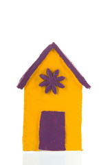 Colorful handmade beach cabin