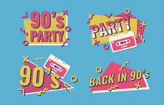 Retro poster. Nineties music, vintage tape cassette. 90s poster. Nineties Party.