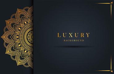 Luxury background with gold islamic arabesque ornament on dark surface