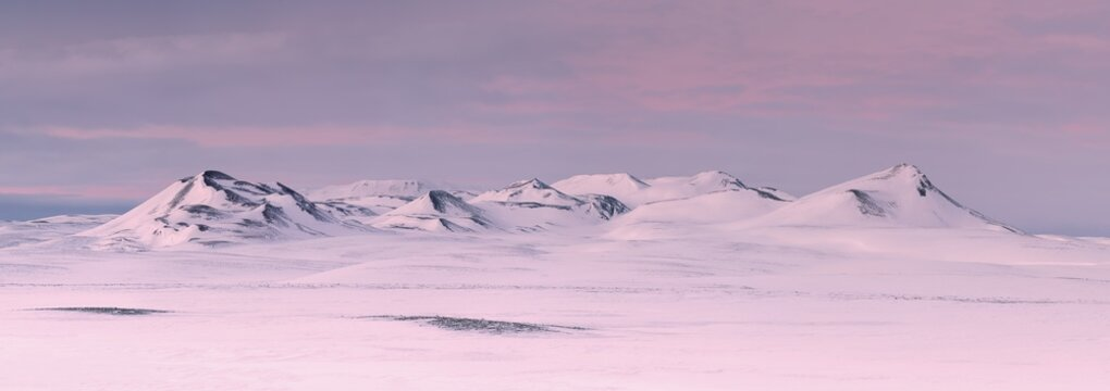 Icelandic landscape with pink sunset