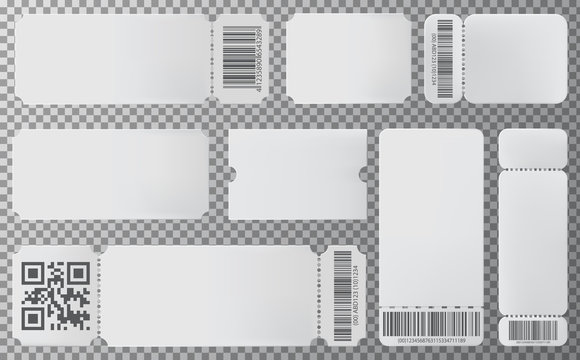 Empty ticket template for movie, concert, showing, sports, party, circus. Set of blank ticket mockup template. Realistic White paper coupon. Vector admit ticket with barcode, QR code.