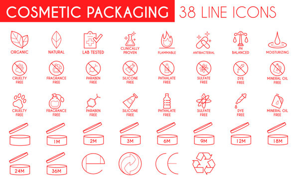 Cosmetic Packaging Line Icon Set
