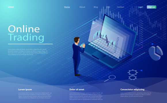 Online trading on stock exchange at home isometric composition with laptop, businessman, tablet, vector. Digital money market, investment, finance trading. Isometric concept stock exchang and trader