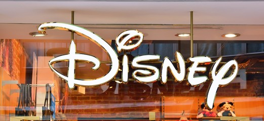 Venice, Italy - October 12, 2019: Sign of Disney store. Disney is an American diversified multinational mass media and entertainment conglomerate