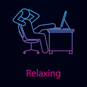 Worker is relaxing nolan icon. Simple thin line, outline vector of man in the office in fron of computer icons for ui and ux, website or mobile application