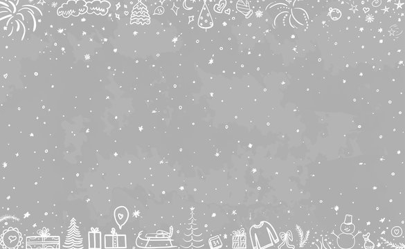 Hand drawn christmas background. Abstract chalkboard. Black and white illustration