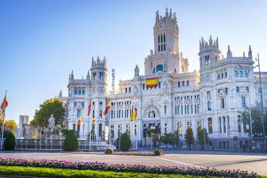 Cybele Palace (Palacio de Cibeles) and Cibeles fountain in Madrid.