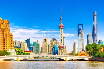 Garden Poster Shanghai Shanghai pudong skyline with historical Waibaidu bridge, China during summer sunny day
