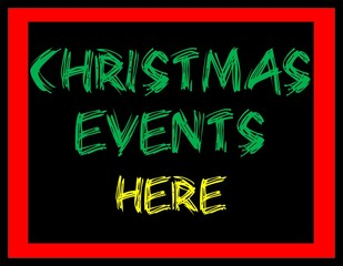 Christmas events here banner, poster illustration.