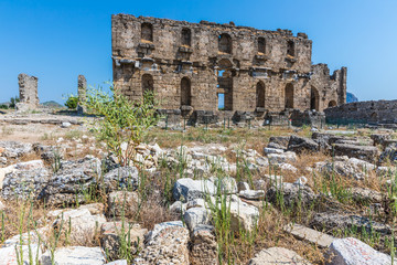 Aspendos or Aspendus, an ancient Greco-Roman city in Antalya province of Turkey. The Basilica
