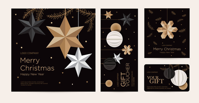 A set of christmas greeting card, invitation, certificate, voucher with festive decor. New Year design template of beauty salon, spa, restaurant, club. Vector illustration of gold stars and snowflake