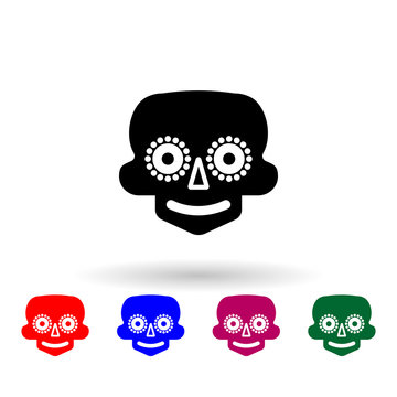 Mask the day of the dead multi color icon. Simple glyph, flat vector of mexico icons for ui and ux, website or mobile application