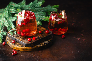 Cranberry cocktail in glasses