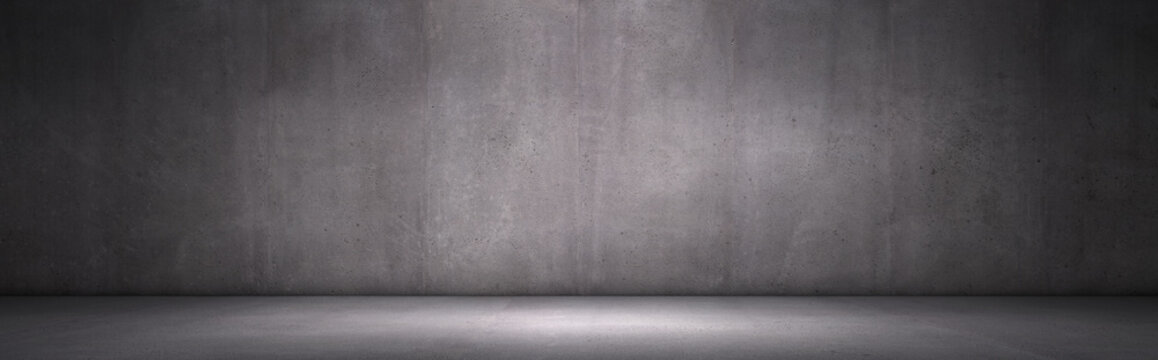 Exposed Concrete Wall Dark Panoramic Background with Floor for Placement and Presentation
