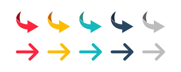 Fototapeta Arrow set icon. Colorful arrow symbols. Arrow isolated vector graphic elements. obraz