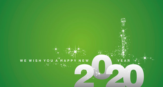 We wish you a Happy New Year 2020 silver green greeting card