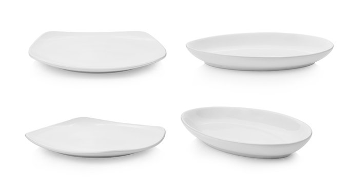 set of plate on white background