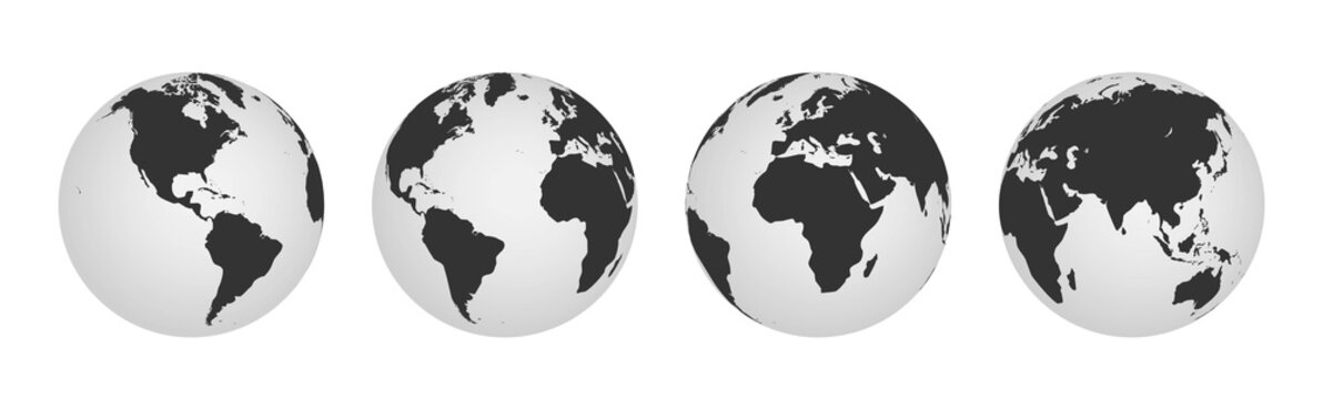Earth globe icons. earth hemispheres with continents. world map set.