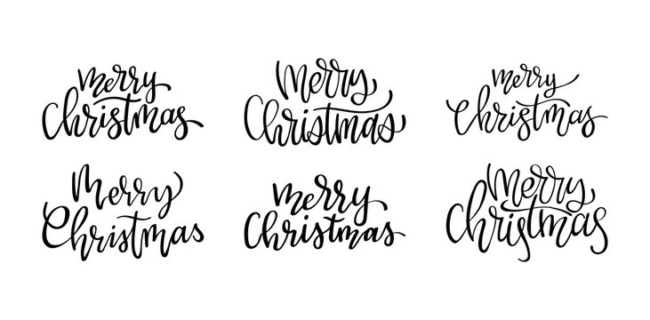 Handwritten Merry Christmas calligraphy. Set of hand lettering for cards, posters and your design