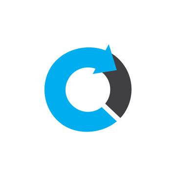 letter c circle arrow colorful design logo vector