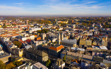View from drone of Ostrava, Czech Republic