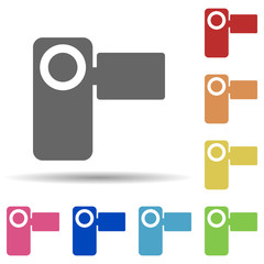 Manual video camera in multi color style icon. Simple glyph, flat vector of web icons for ui and ux, website or mobile application