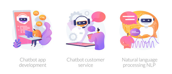 Chatbot icons set metaphors. Information engineering, artificial intelligence, chatbot app development. Customer service and language processing NLP. Vector isolated concept metaphor illustrations