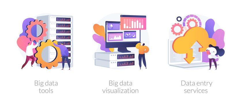 Big data metaphors icons set. Large amount of information storage, sharing, analysis and processing. Tools, visualization, data entry services. Vector isolated concept metaphor illustrations