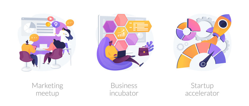 Startup supporting metaphors set. Development of companies, mentoring and training. Marketing meetup, business incubator, startup accelerator . Vector isolated concept metaphor illustrations