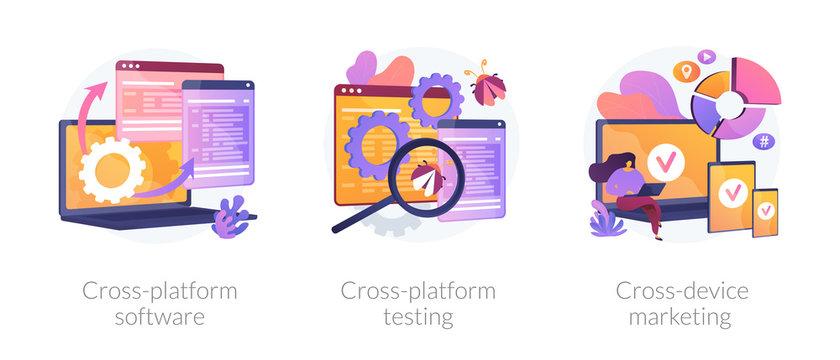 Cross-platform software metaphors. Multi-platform testing, platform-independent software, cross device marketing. Cartoon programmer character. Vector isolated concept metaphor illustrations