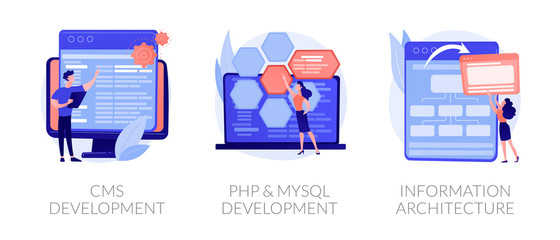 Content management system. Software engineering, database programming. CMS development, PHP MySql development, information architecture metaphors. Vector isolated concept metaphor illustrations.