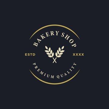 Bakery shop logo design vector illustration