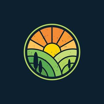 Sunrise landscape agriculture logo design vector illustration