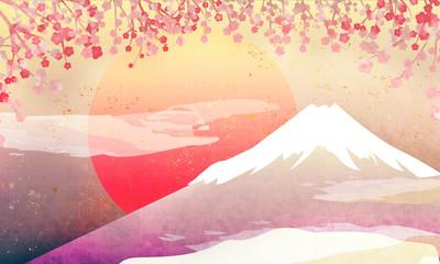 富士山と梅の美しい年賀状風のイラスト 3 パステルカラー