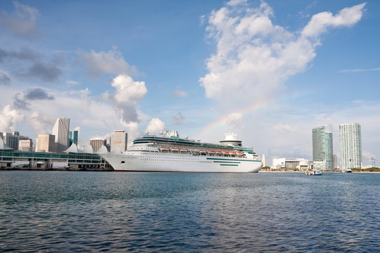 Cruise ship in the harbour Miami