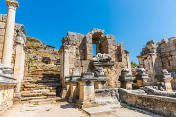 Perga or Perge, an ancient Greek city in Anatolia, a large site of ancient ruins, now in Antalya Province on the Mediterranean coast of Turkey.