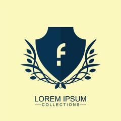 F Elegant logo,Design for Boutique hotel,Resort,Restaurant, Royalty, Victorian identity. Vintage vector font