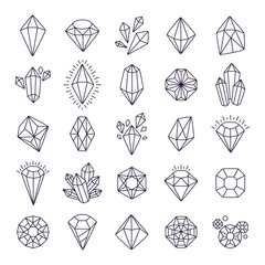 Doodle hand drawn gems. Line art gem stones vector isolated set, black crystals modern illustration
