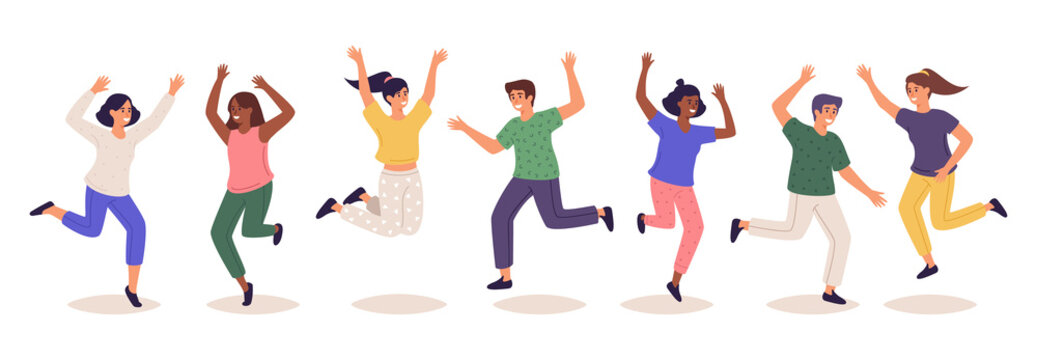 Jumping people. Group of happy laughing male and female characters jumping and have fun flat vector cartoon illustration