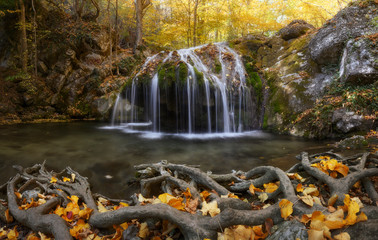 Jur-Jur Waterfall. Autumn in Crimea, October, fall season