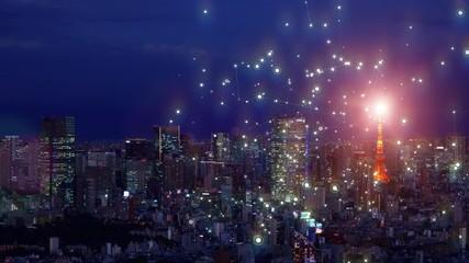 Fototapete - 都市とネットワーク