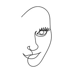 Foto op Aluminium One Line Art Girl's face drawn in one line. Icon symbol of beauty and femininity. Vector illustration.