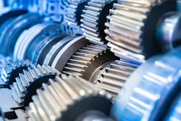 Industrial concept. The pattern of gears. Background with metal details. Concept of gears. Development of industrial equipment. Metal mechanism. Equipment for metal processing.