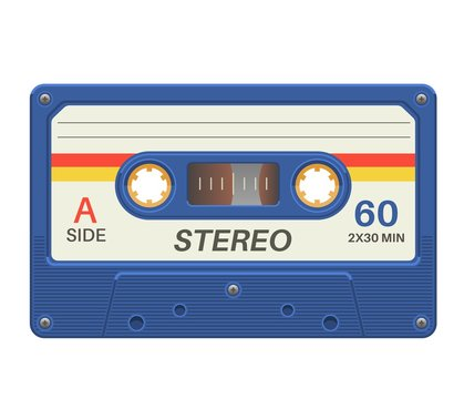 Stereo cassette. Retro audio tape with music record for vintage poster 80s isolated vector object